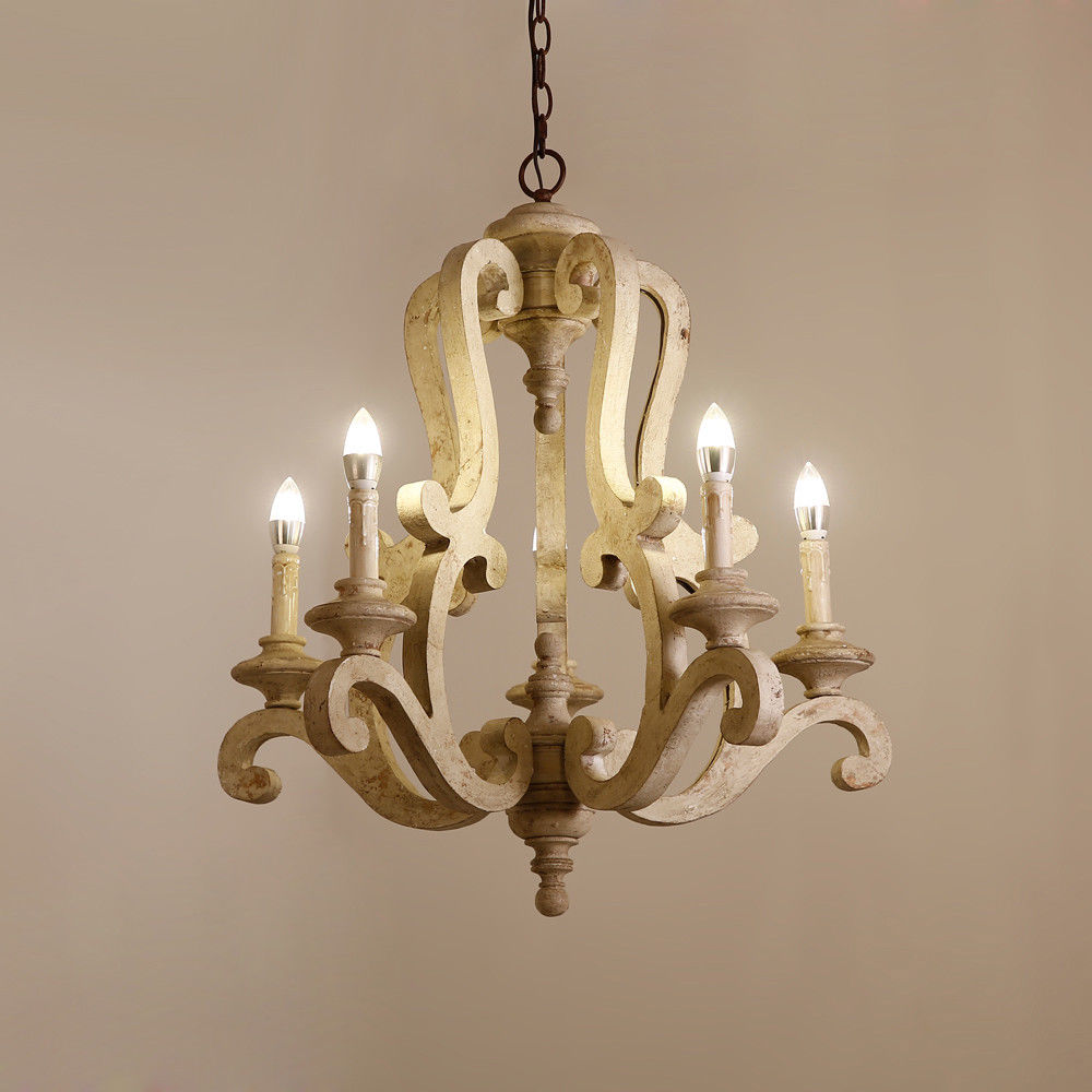 Retro-Distressed-Wood-5-Arms-Candle-Light-Chandelier-Cafe-Kitchen-Pendant-Lamp thumbnail 13