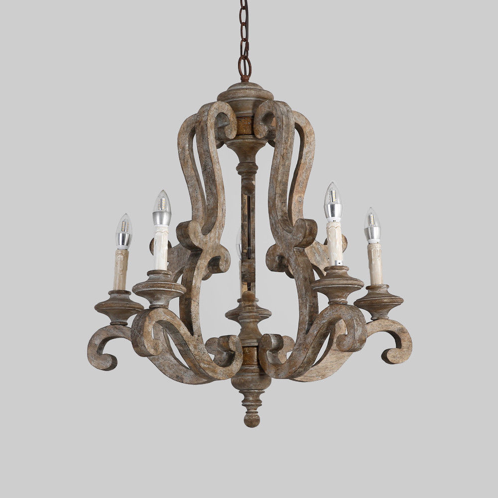Retro-Distressed-Wood-5-Arms-Candle-Light-Chandelier-Cafe-Kitchen-Pendant-Lamp thumbnail 16