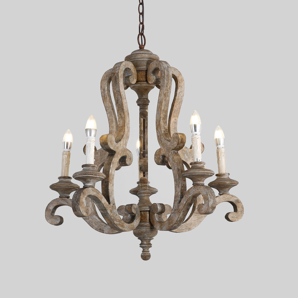 Retro-Distressed-Wood-5-Arms-Candle-Light-Chandelier-Cafe-Kitchen-Pendant-Lamp thumbnail 15