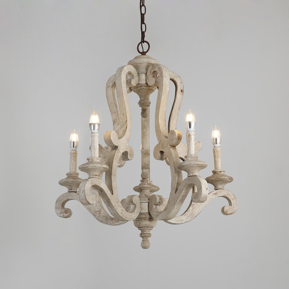 Retro-Distressed-Wood-5-Arms-Candle-Light-Chandelier-Cafe-Kitchen-Pendant-Lamp thumbnail 14