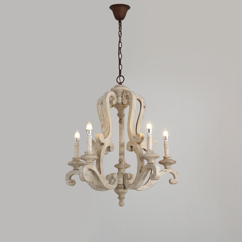 Retro-Distressed-Wood-5-Arms-Candle-Light-Chandelier-Cafe-Kitchen-Pendant-Lamp thumbnail 18
