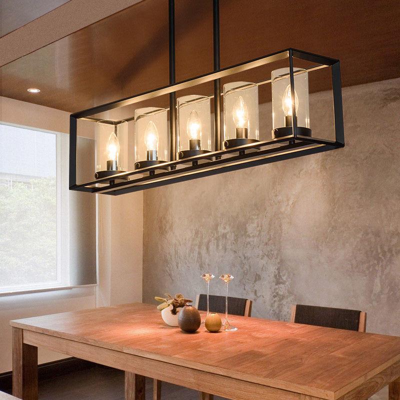 Details About Modern LED Ceiling Light Black Metal Frame For Dining Table Linear Pendant