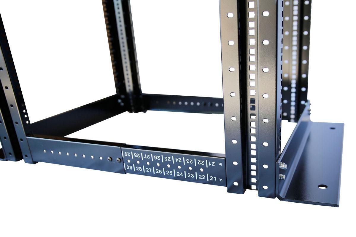 """27U 4 Post Open Frame 19/"""" Network Server Rack Cabinet Adjustable Depth 24/""""-37/"""""""