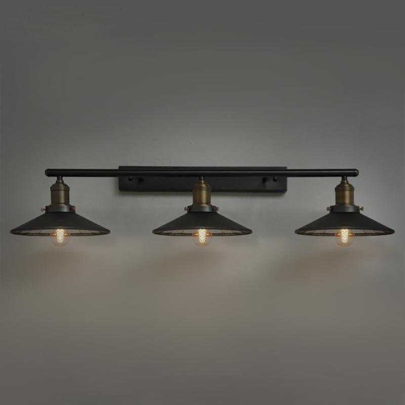 black metal saucer shaped shade linear industrial bath vanity light rh ebay com industrial bathroom vanity lighting canada industrial bath vanity lights