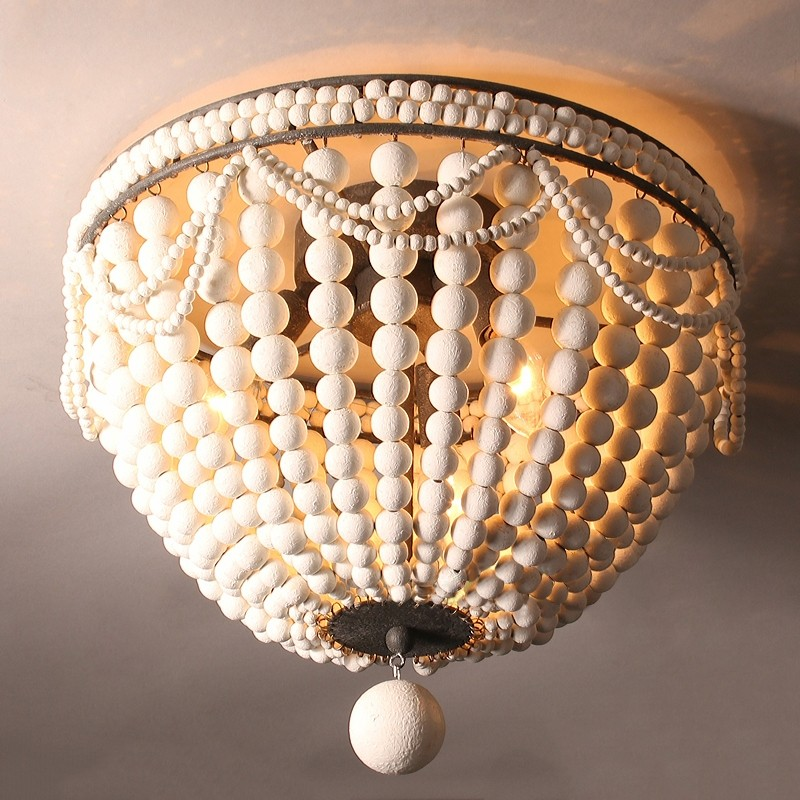 Details About Wood Bead Cascade Ceiling Down Light Vintage Bedroom Kitchen Flush Mount Fixture