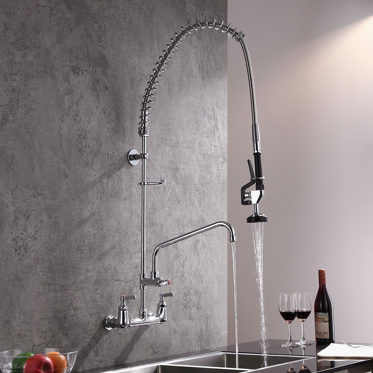 Details about Commercial Pull Down Spring Sprayer Swiveling Wall Mounted  Kitchen Sink Faucet