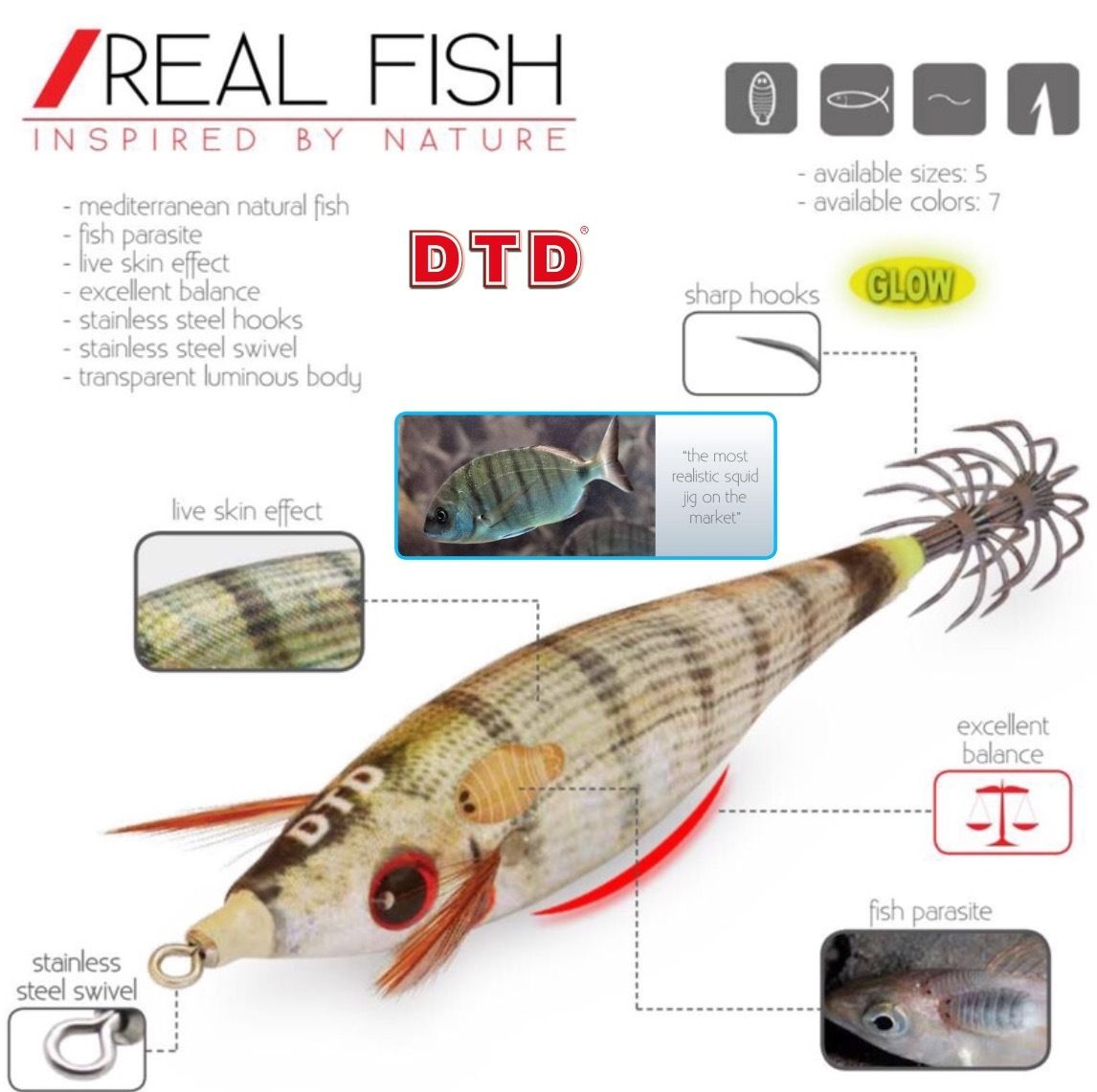 DTD SQUID FISHING REALISTIC SQUID JIG WEAK FISH BUKVA 3.0