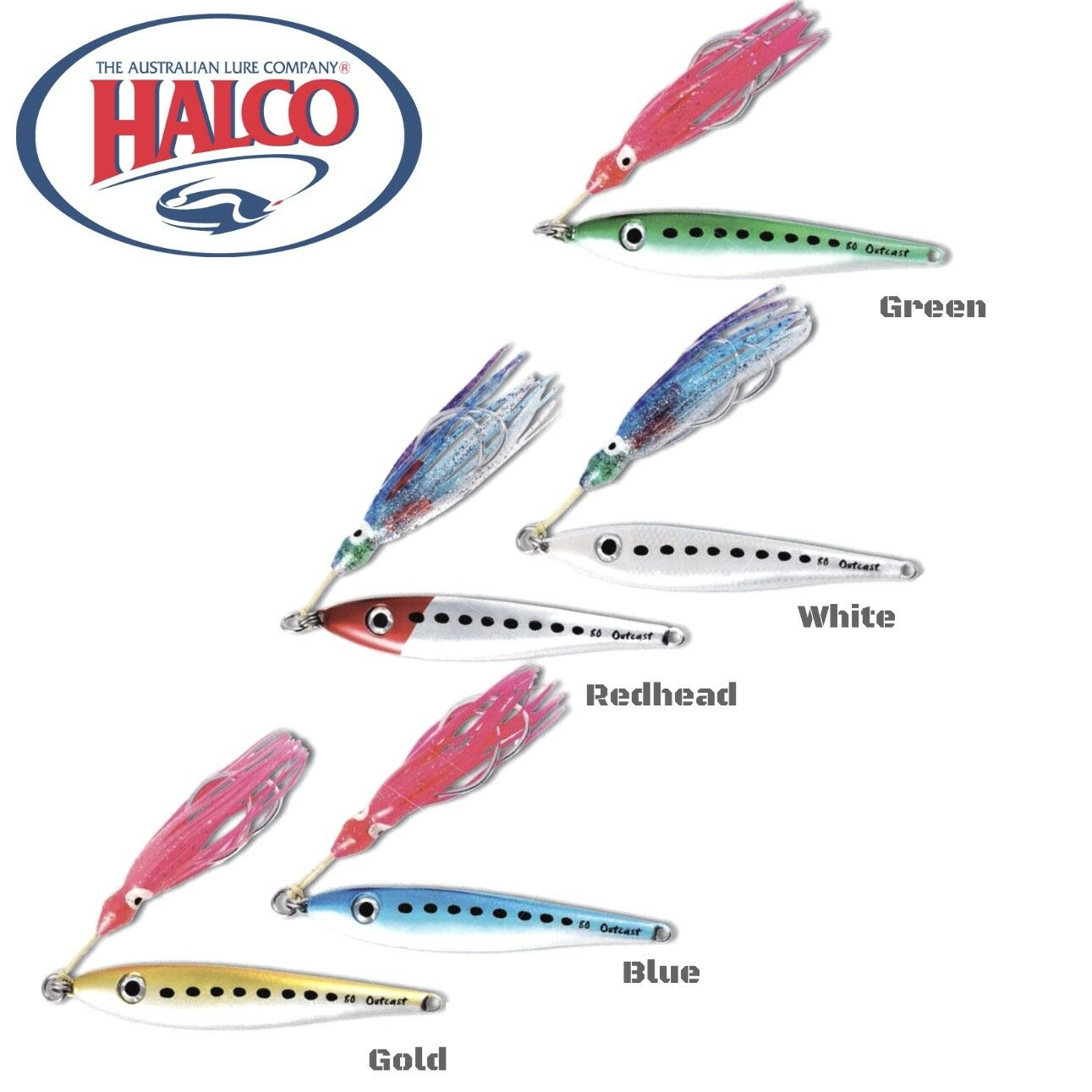 Halco Rear Weighted Baitfish//Profiled Metal Jig Lure Outcast 40G