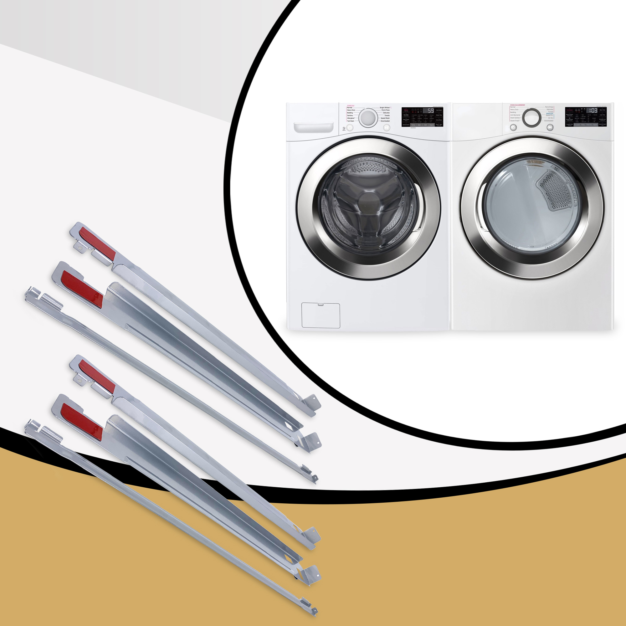 Appliance Pros 27 Inch Chrome Laundry Stacking Kit For LG Washers Part KSTK1 2-Pack