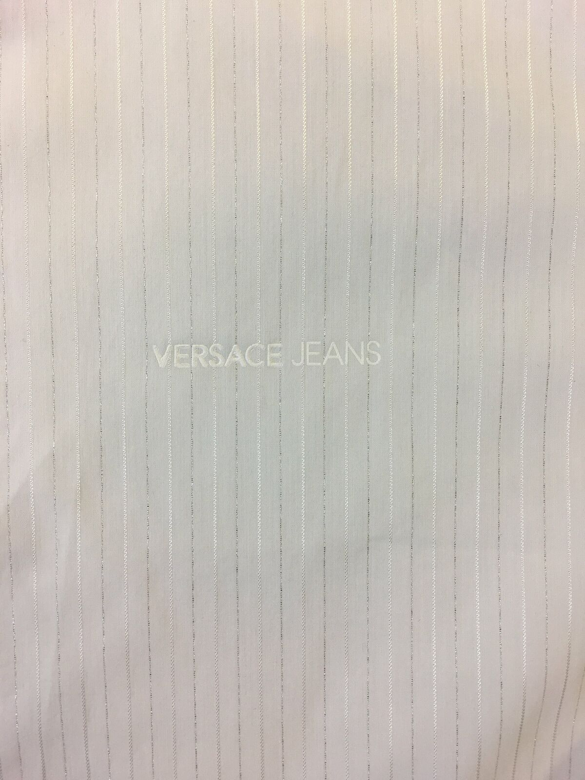 Versace-Jeans-039-Elegant-039-slim-fit-shirt-in-white-and-silver-stripe-rrp-179-99 thumbnail 6