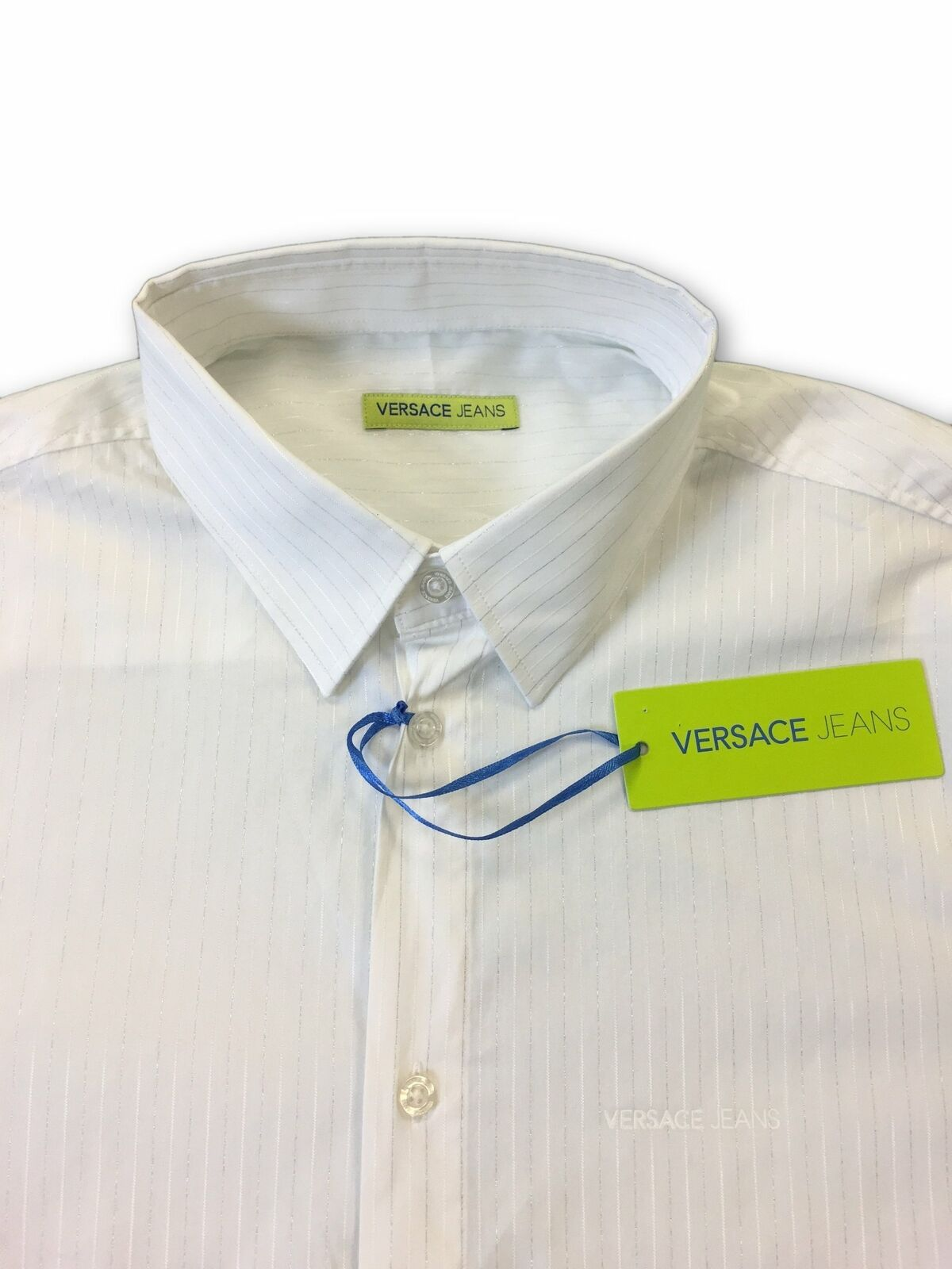 Versace-Jeans-039-Elegant-039-slim-fit-shirt-in-white-and-silver-stripe-rrp-179-99 thumbnail 8