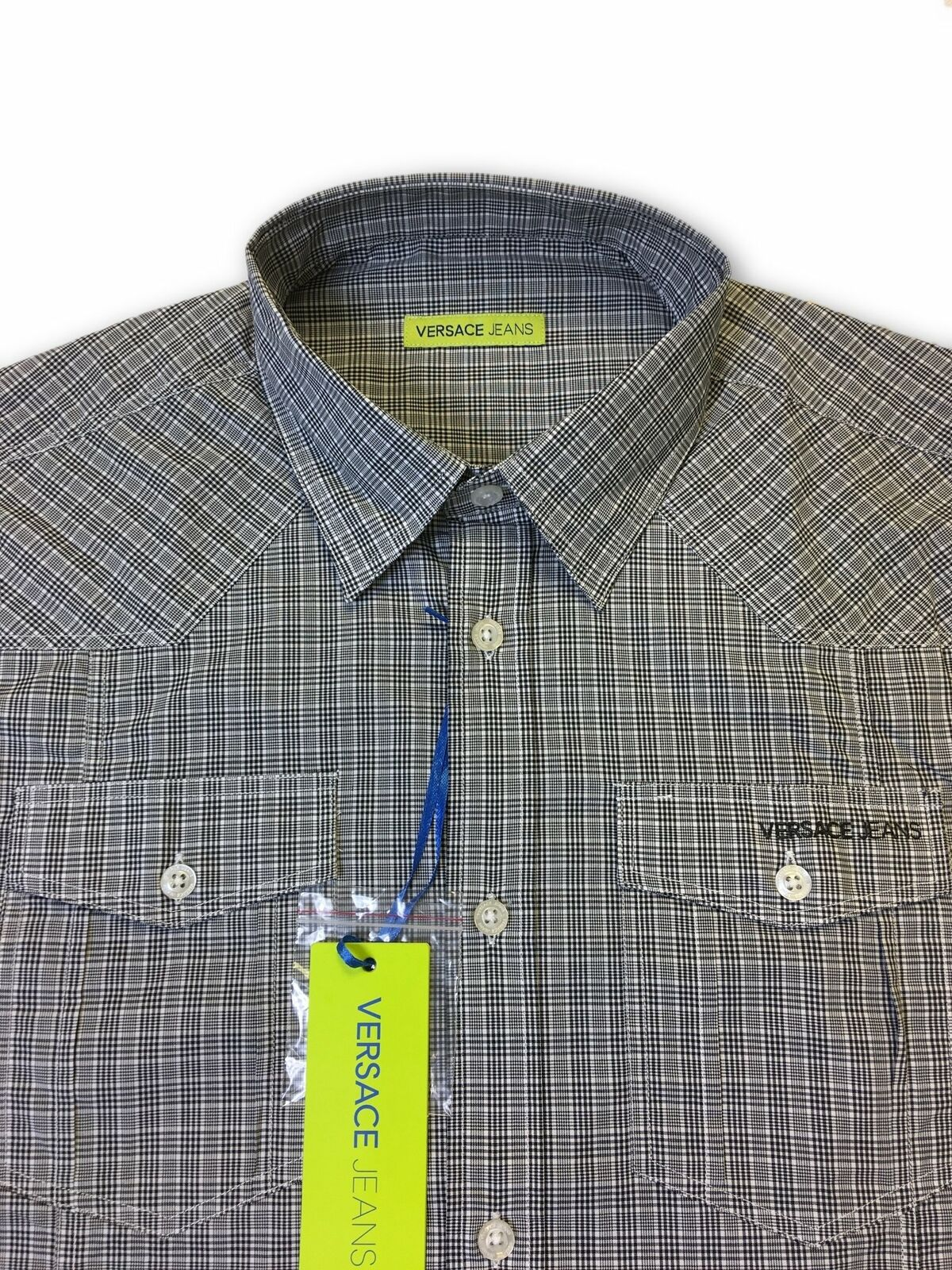 Versace-Jeans-039-Norwich-039-slim-fit-shirt-in-grey-check thumbnail 5