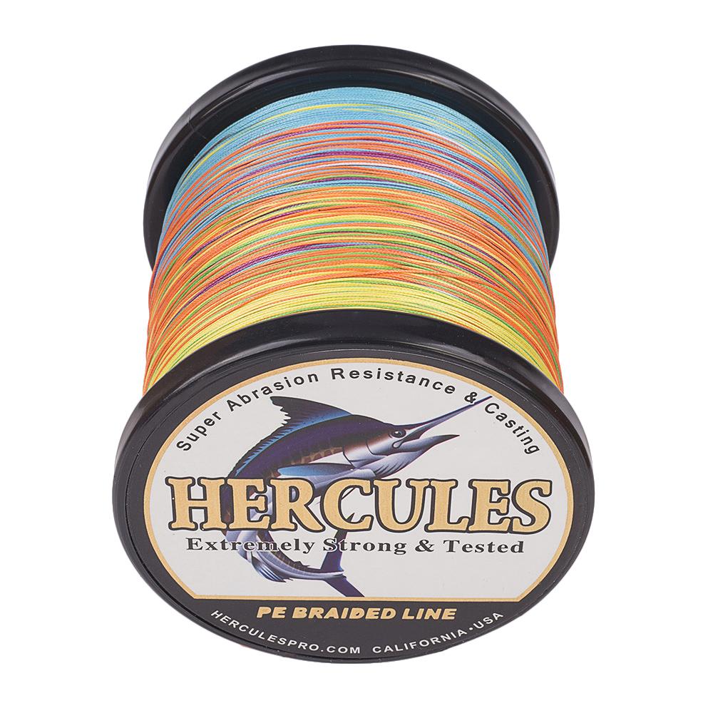 1000M 1094Yds 6-100LB Test Color Select Hercules Braid Fishing Line PE 4 Strands