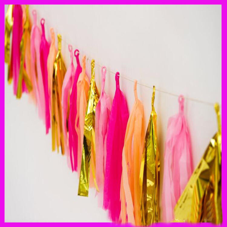50-x-Tissue-Paper-Tassels-Garlands-Bunting-Wedding-Party-Decoration-Balloon-Tail thumbnail 14