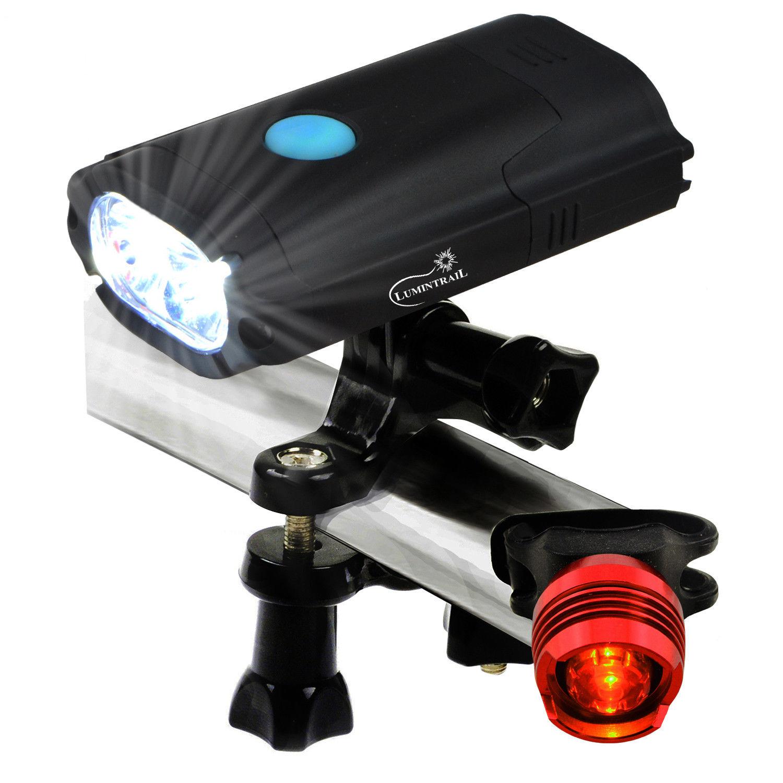 Lumintrail USB Rechargeable 800 Lumen LED Bike Light with Free Tail Light   Black
