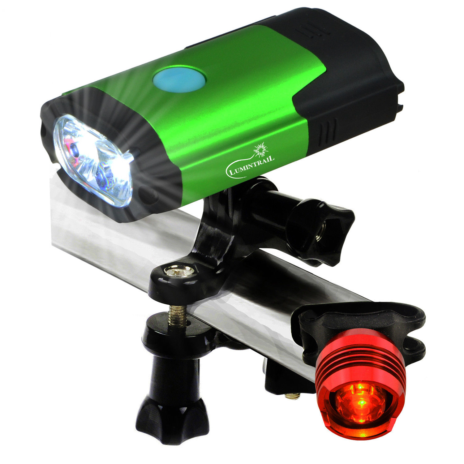 Lumintrail USB Rechargeable 800 Lumen LED Bike Light with Free Tail Light   Green