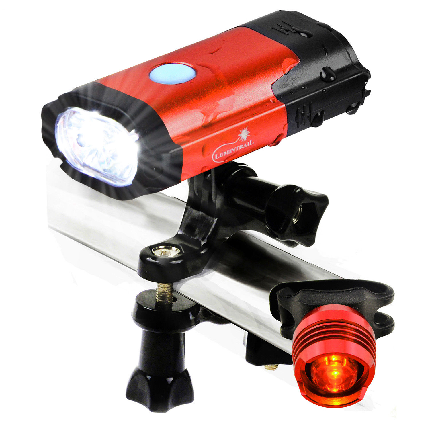 Lumintrail USB Rechargeable 800 Lumen LED Bike Light with Free Tail Light   Red