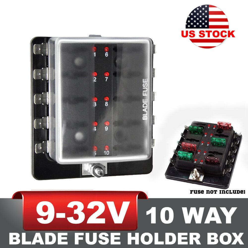 details about 10 way blade fuse block holder box led light circuit caravan  truck suv 12v 24v