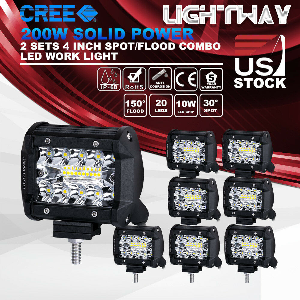 Details about 8x 4 inch 200w CREE LED Work Light Pod Spot Flood Combo  Driving Light