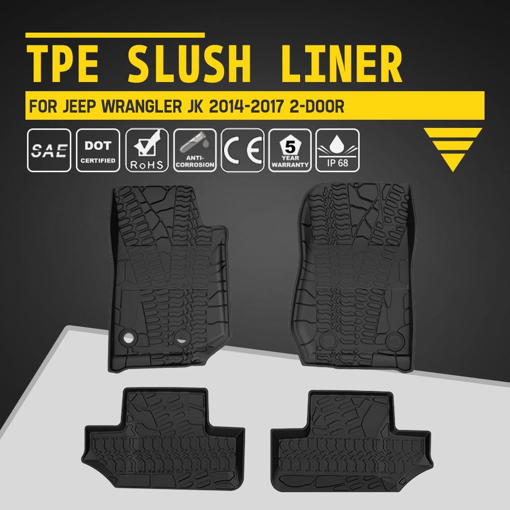 4 Door Front Rubber Floor Mats Winter Slush Mats for 14-17 Jeep Wrangler JK 2