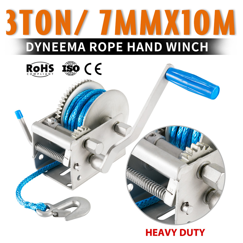 Details about 3Tons Hand Winch 3-Speed 10M x 7MM Dyneema Synthetic Rope  Boat 4WD 4X4 Recovery