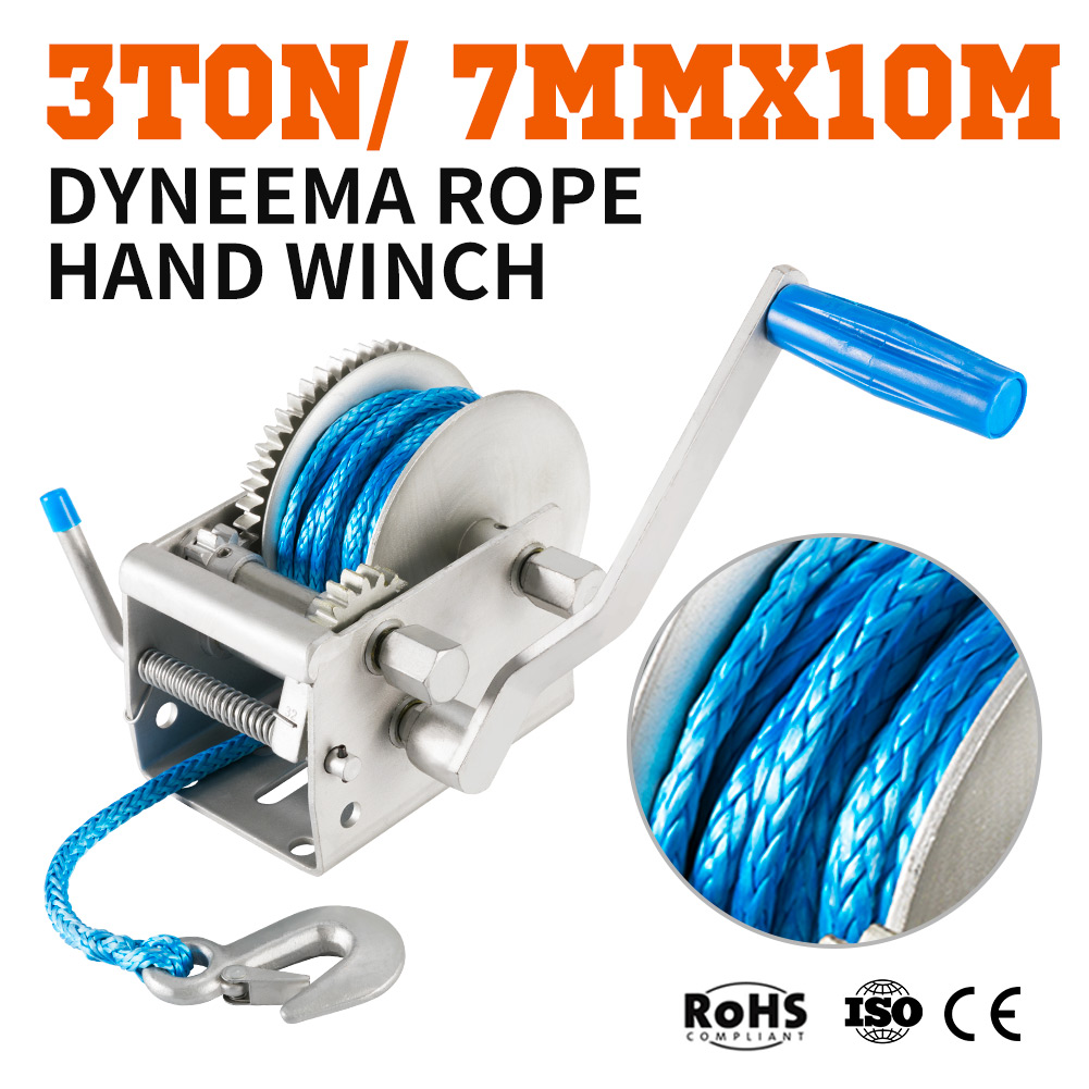 Details about 3Tons 3-Speed Recovery Hand Winch 10M x 7MM Dyneema Synthetic  Rope Boat 4WD 4X4