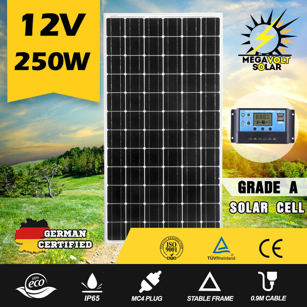 12V-250W-200W-100W-60W-10W-Solar-Panel-Kit-MONO-Caravan-Camping-Power-Charging thumbnail 76