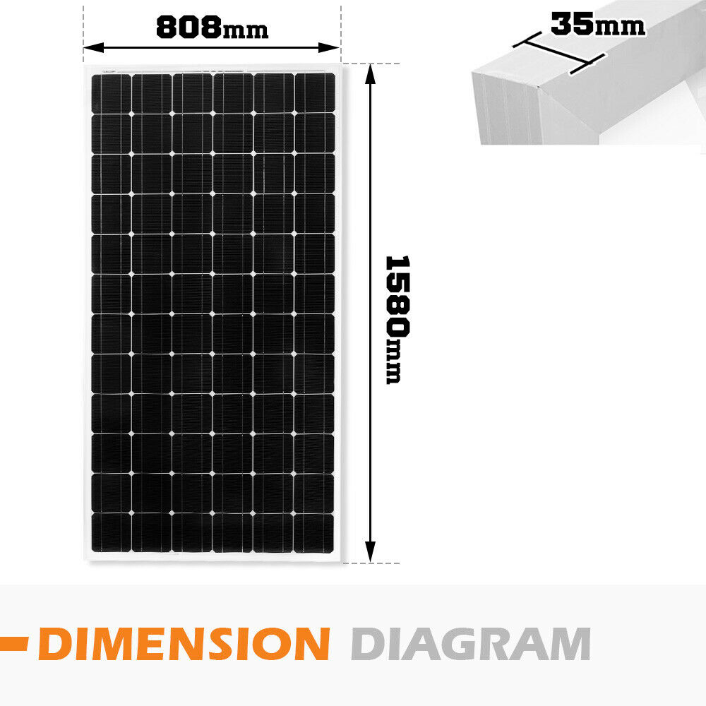12V-250W-200W-100W-60W-10W-Solar-Panel-Kit-MONO-Caravan-Camping-Power-Charging thumbnail 86