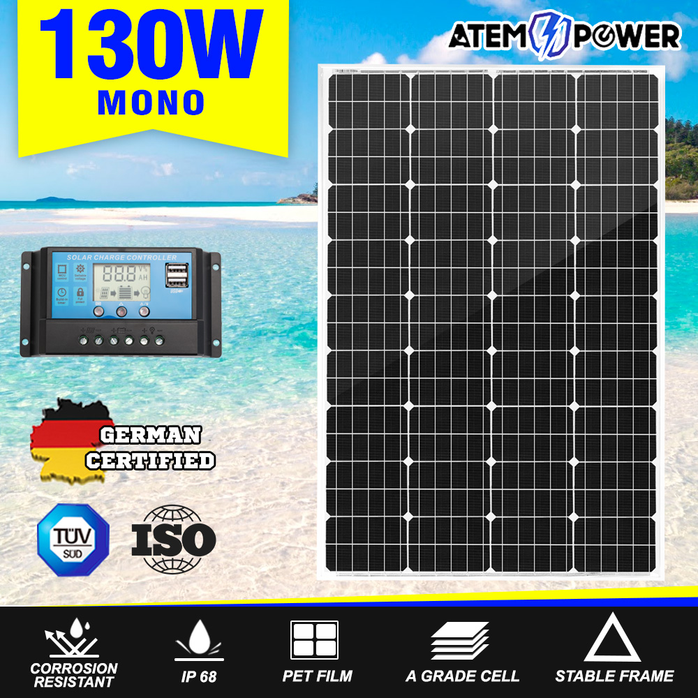 12V-250W-200W-130W-Solar-Panel-Mono-Caravan-Camping-Home-Battery-Charging-Power thumbnail 51