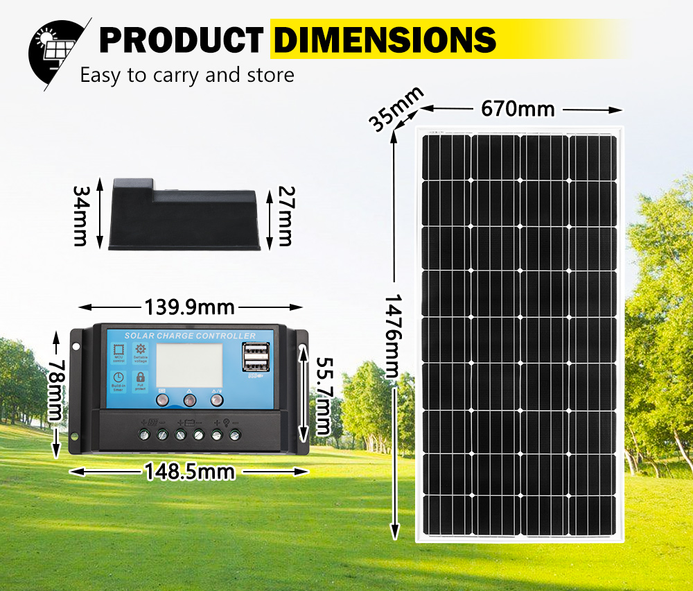 12V-250W-200W-130W-Solar-Panel-Mono-Caravan-Camping-Home-Battery-Charging-Power thumbnail 69