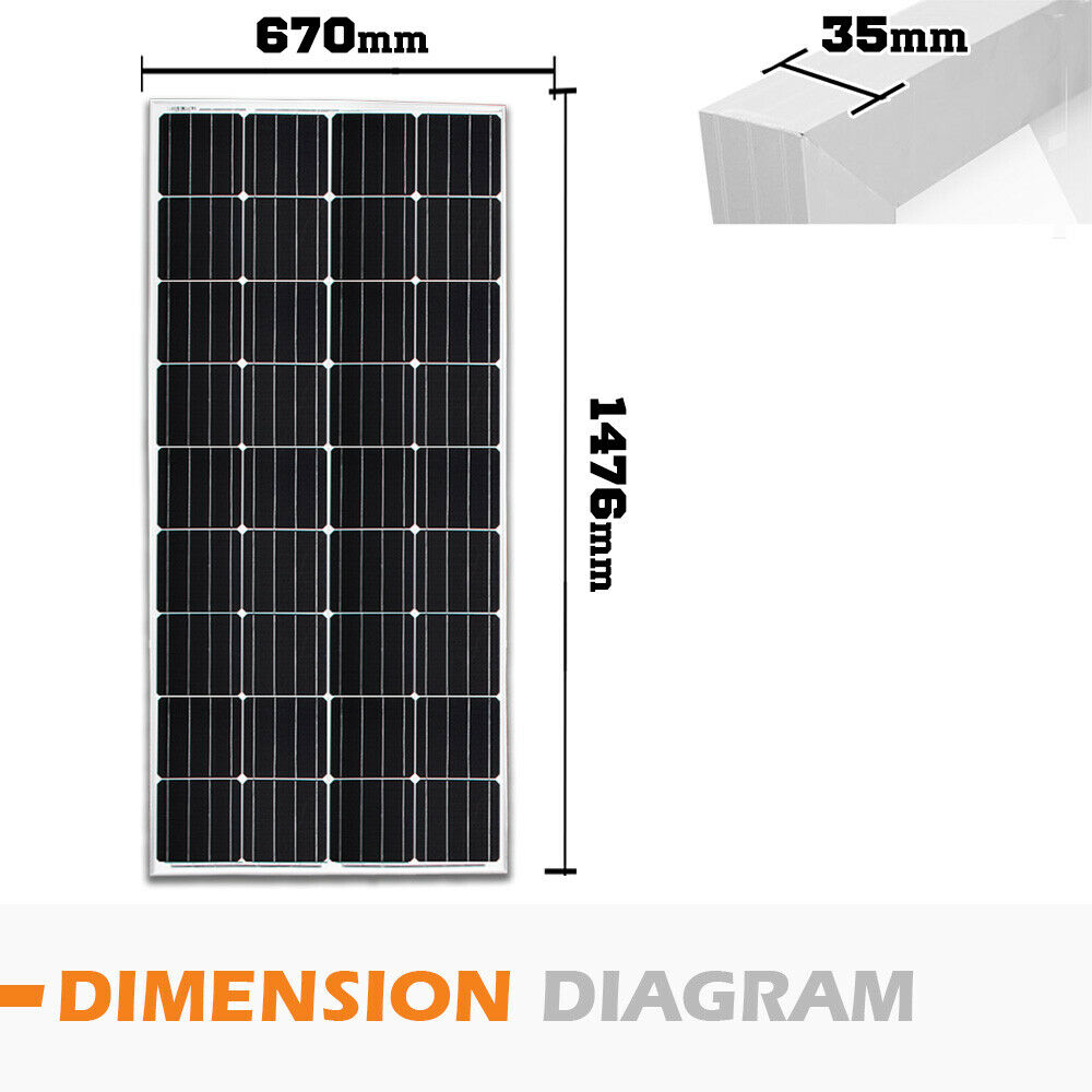 12V-250W-200W-100W-60W-10W-Solar-Panel-Kit-MONO-Caravan-Camping-Power-Charging thumbnail 63