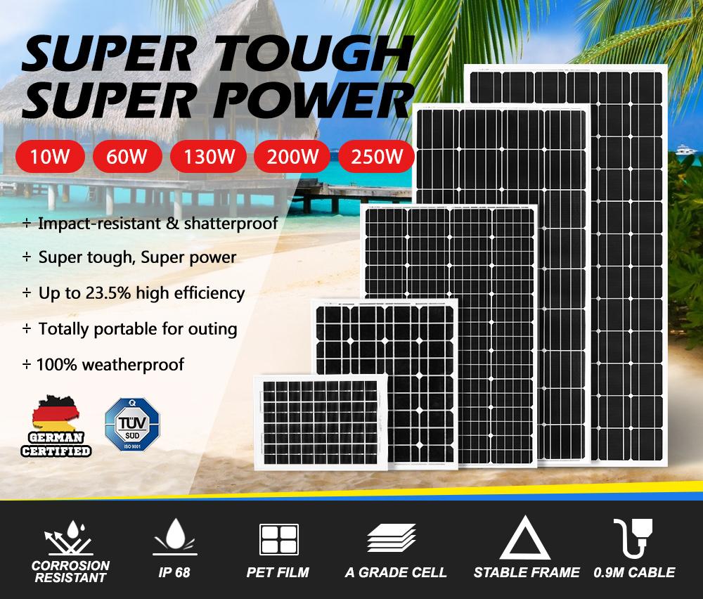 12V-250W-200W-130W-Solar-Panel-Mono-Caravan-Camping-Home-Battery-Charging-Power thumbnail 12