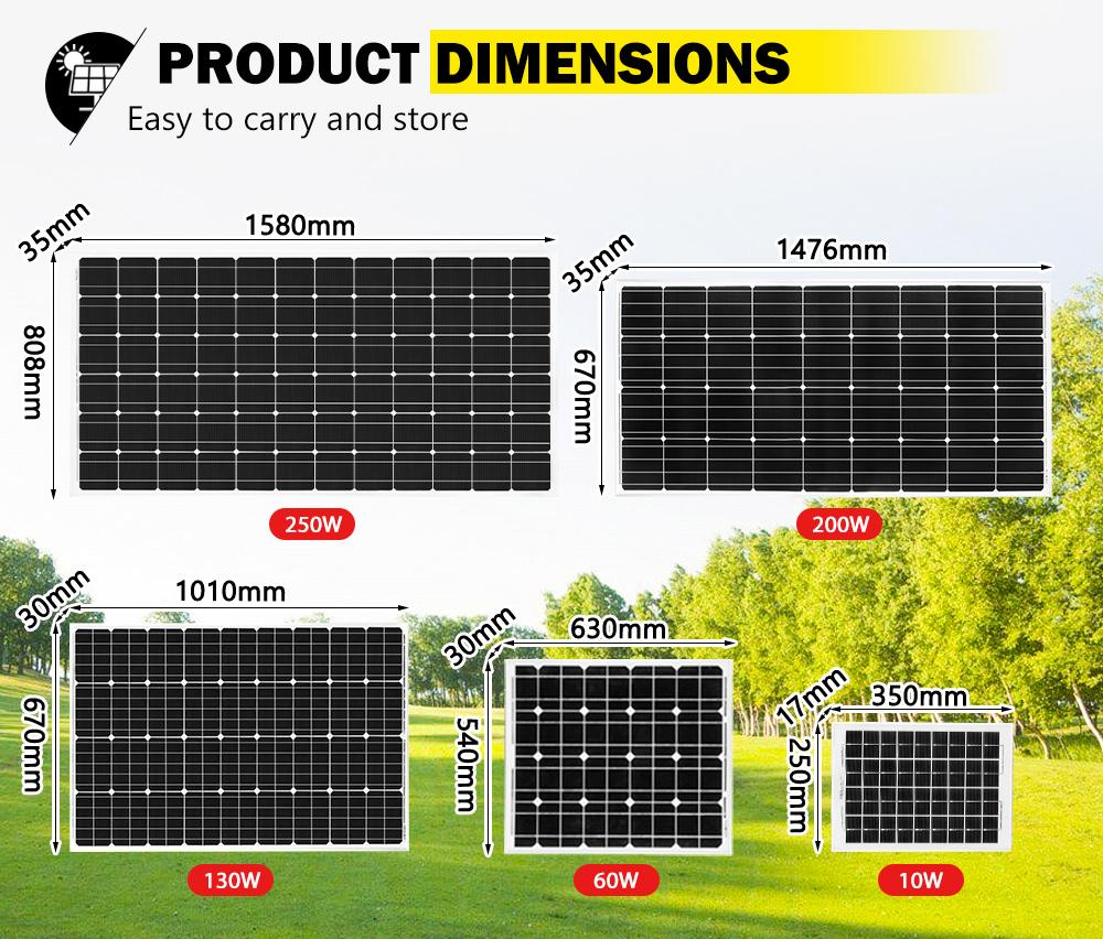 12V-250W-200W-130W-Solar-Panel-Mono-Caravan-Camping-Home-Battery-Charging-Power thumbnail 19