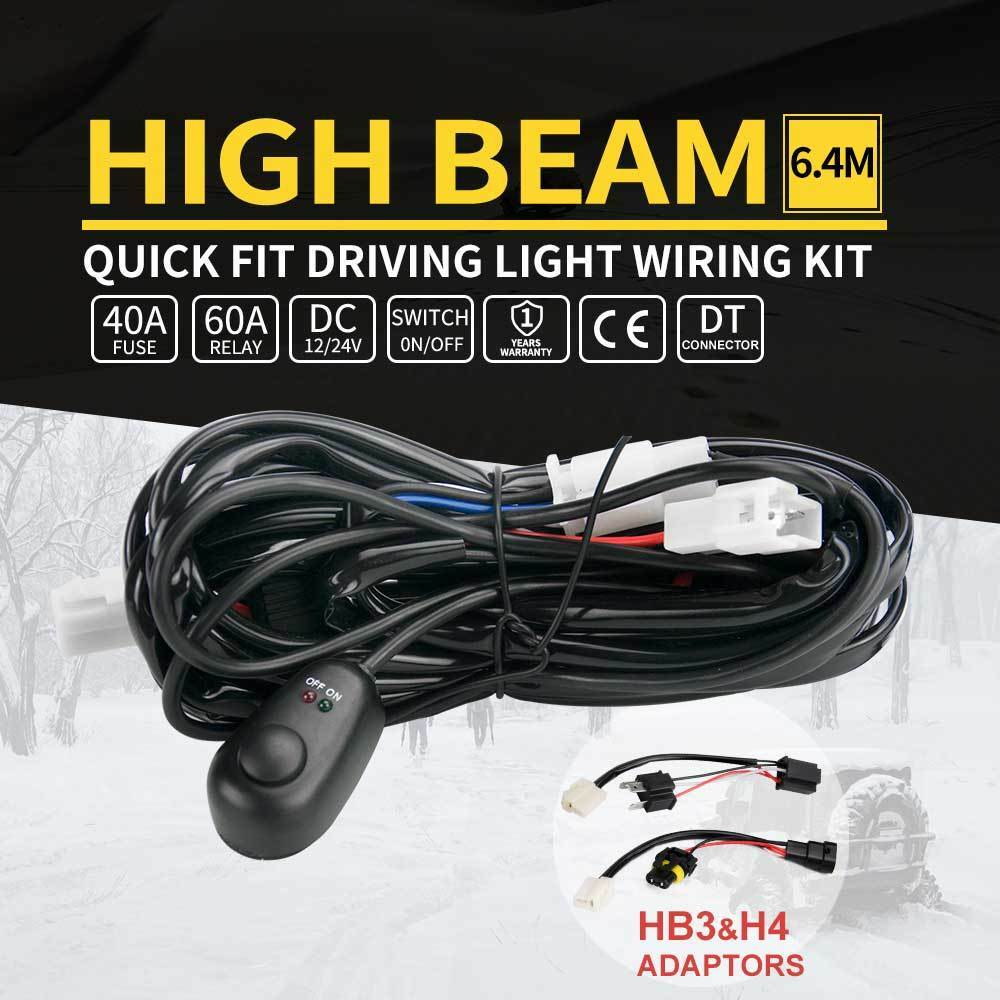 details about led light wiring loom harness relay kit driving lamp plug  quick fit high beam