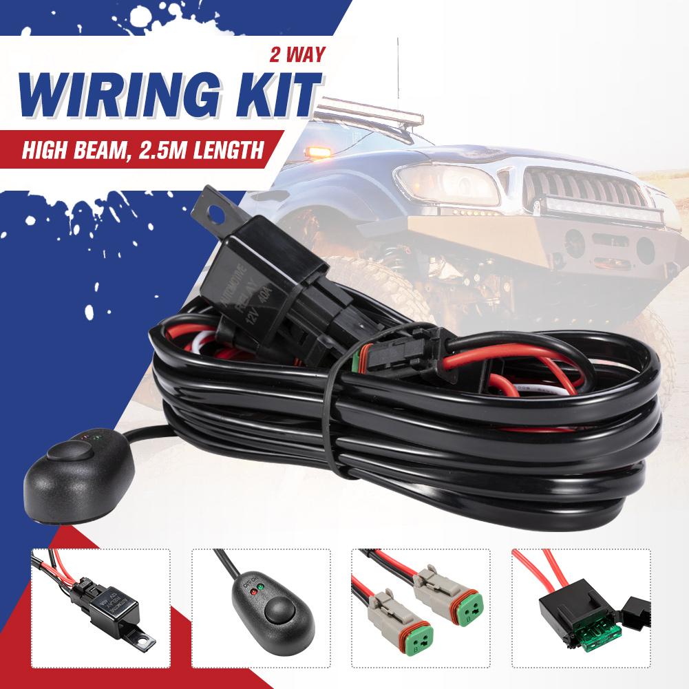 2 Way High Beam Wiring Loom Harness Relay Switch Kit 12v 40a Driving Light Bar 9356307000627 Ebay