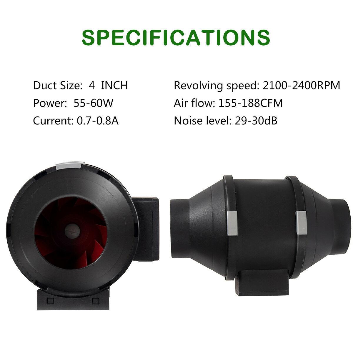 4-034-6-034-8-034-Inch-Inline-Duct-Fan-Ventilation-Exhaust-Plastic-Fan-w-Speed-Controller thumbnail 5