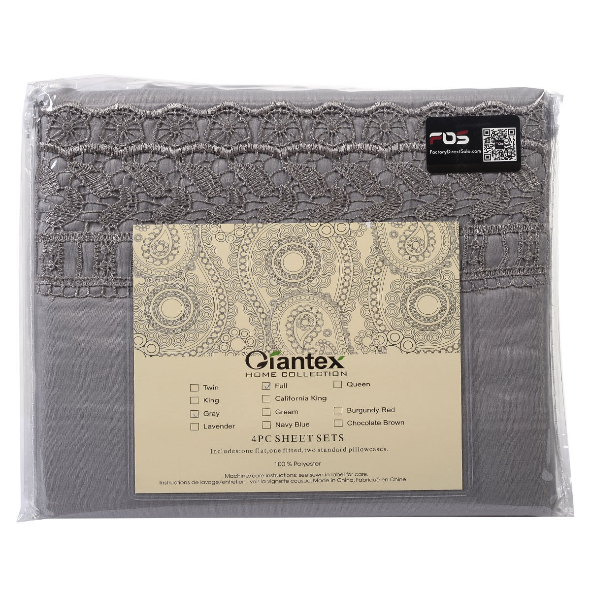 1600-Count-4-Piece-Bed-Sheet-Set-Deep-Pocket-6-Color-5-Size-Chemical-Lace-New thumbnail 21