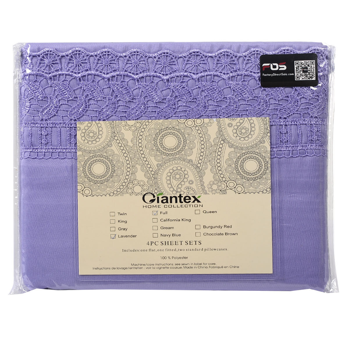 1600-Count-4-Piece-Bed-Sheet-Set-Deep-Pocket-6-Color-5-Size-Chemical-Lace-New thumbnail 26