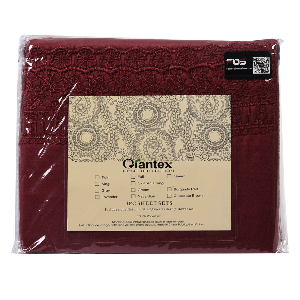 1600-Count-4-Piece-Bed-Sheet-Set-Deep-Pocket-6-Color-5-Size-Chemical-Lace-New thumbnail 7