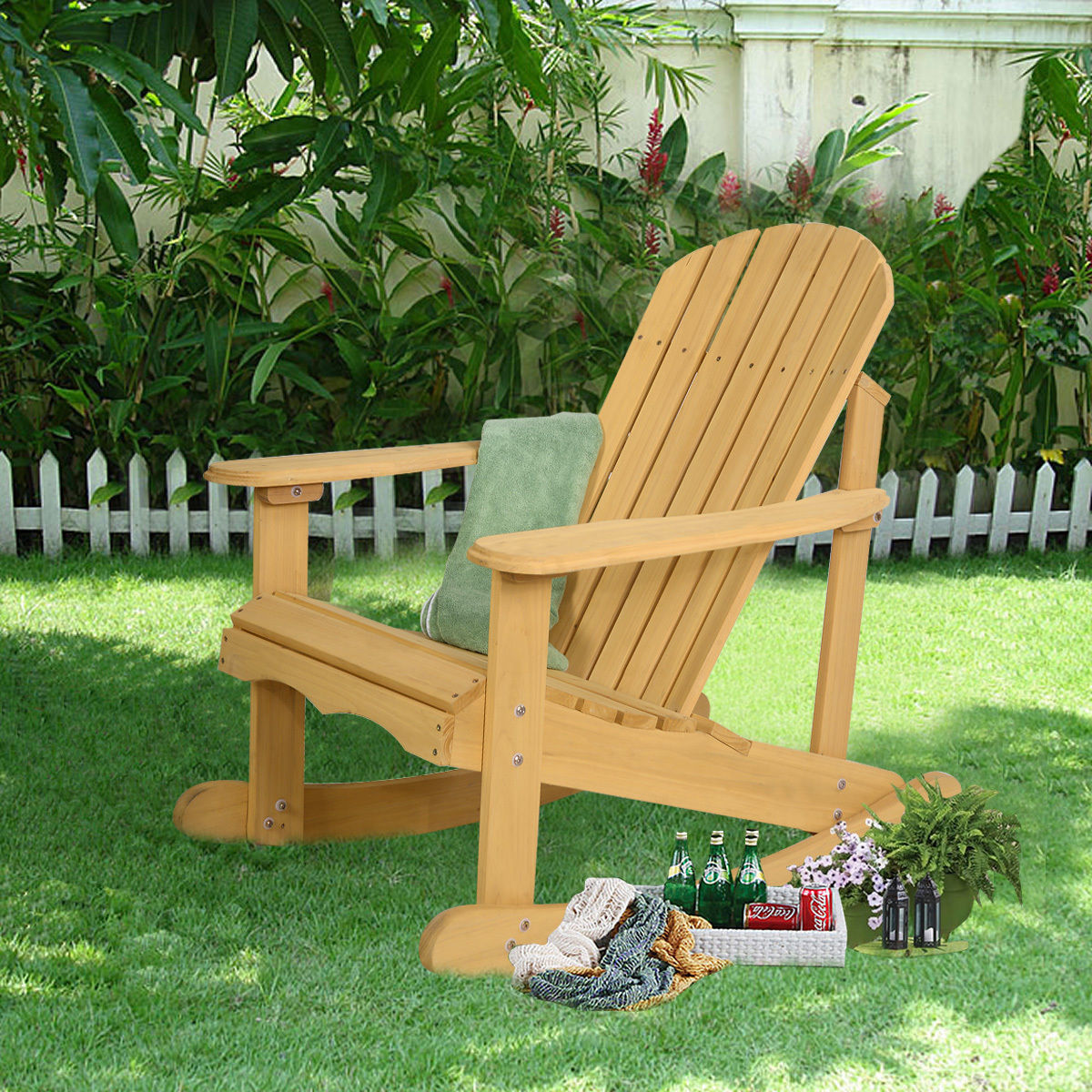 Garden Furniture - Outdoor Natural Fir Wood Adirondack Rocking Chair Patio Deck Garden Furniture