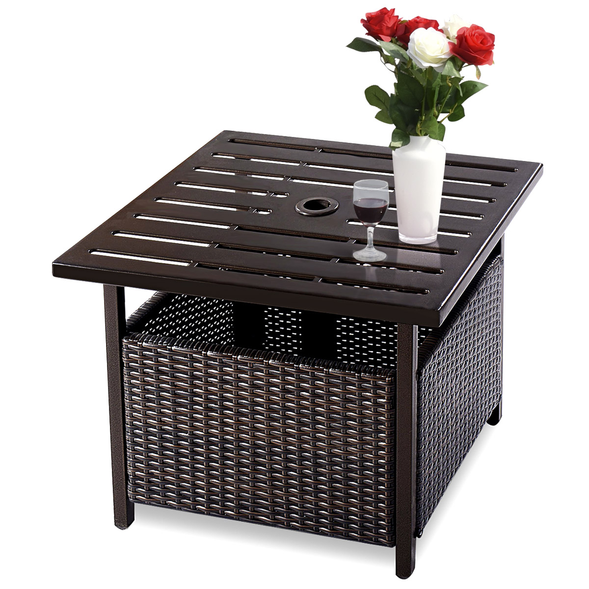 Rattan Side Table Outdoor Patio Wicker End Tea Coffee Table