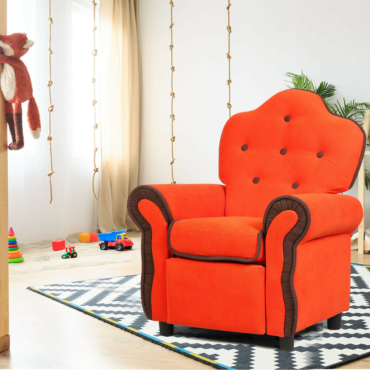 Details about Children Recliner Kids Sofa Chair Couch Living Room Furniture  Black Pink Orange