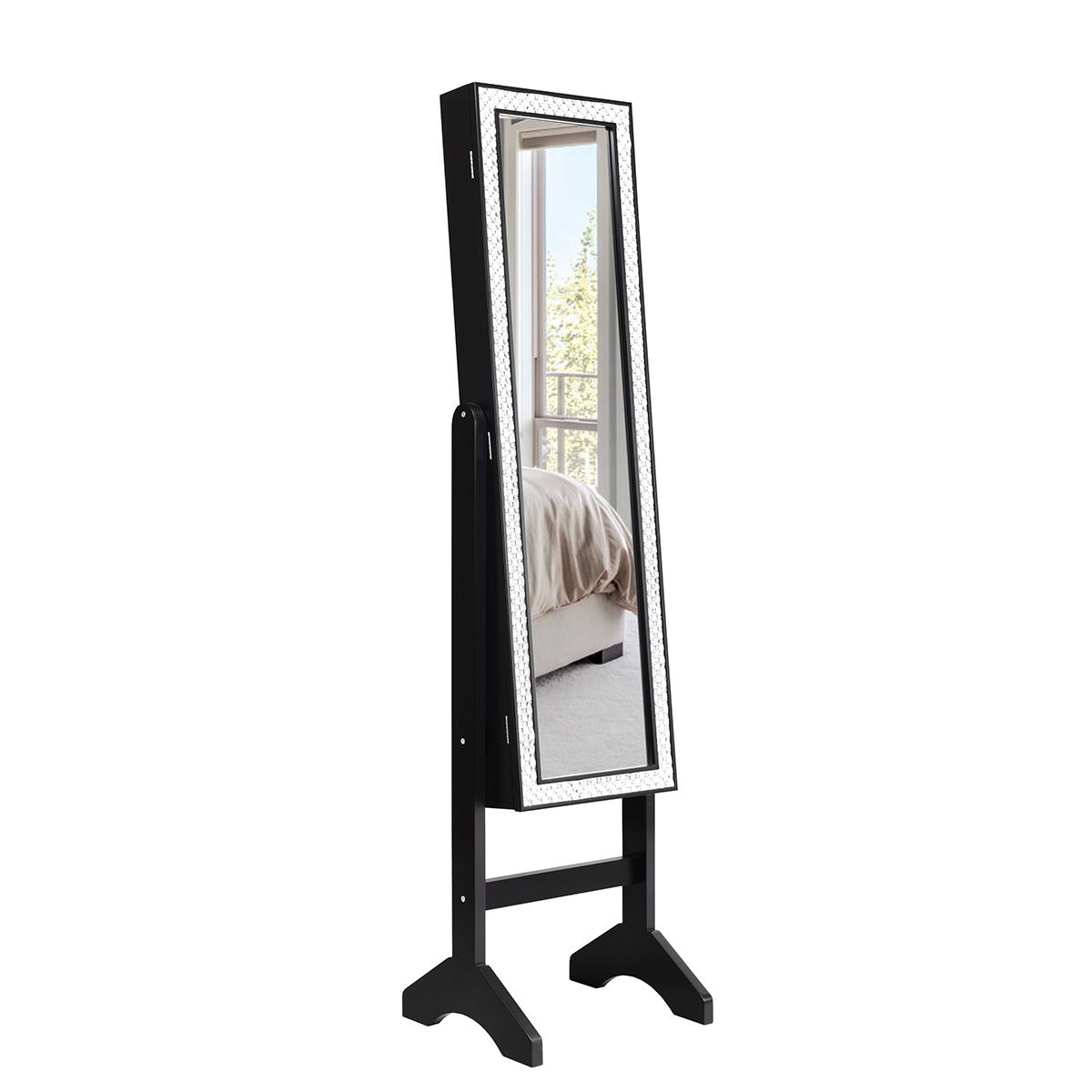 Mirrored Jewelry Cabinet Armoire w/ Resin Diamond Storage Or