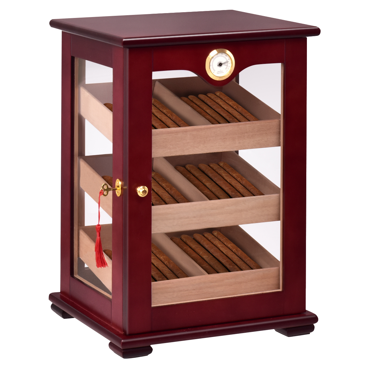 New 150 Cigars Storage Cabinet Humidifier Hygrometer Counter