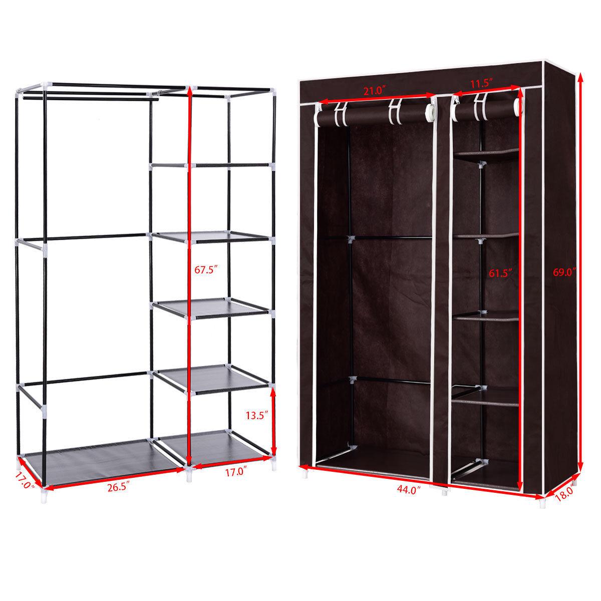 "69/"" Portable Closet Storage Organizer Clothes Wardrobe Shoe Rack W//6 Shelf Brown"