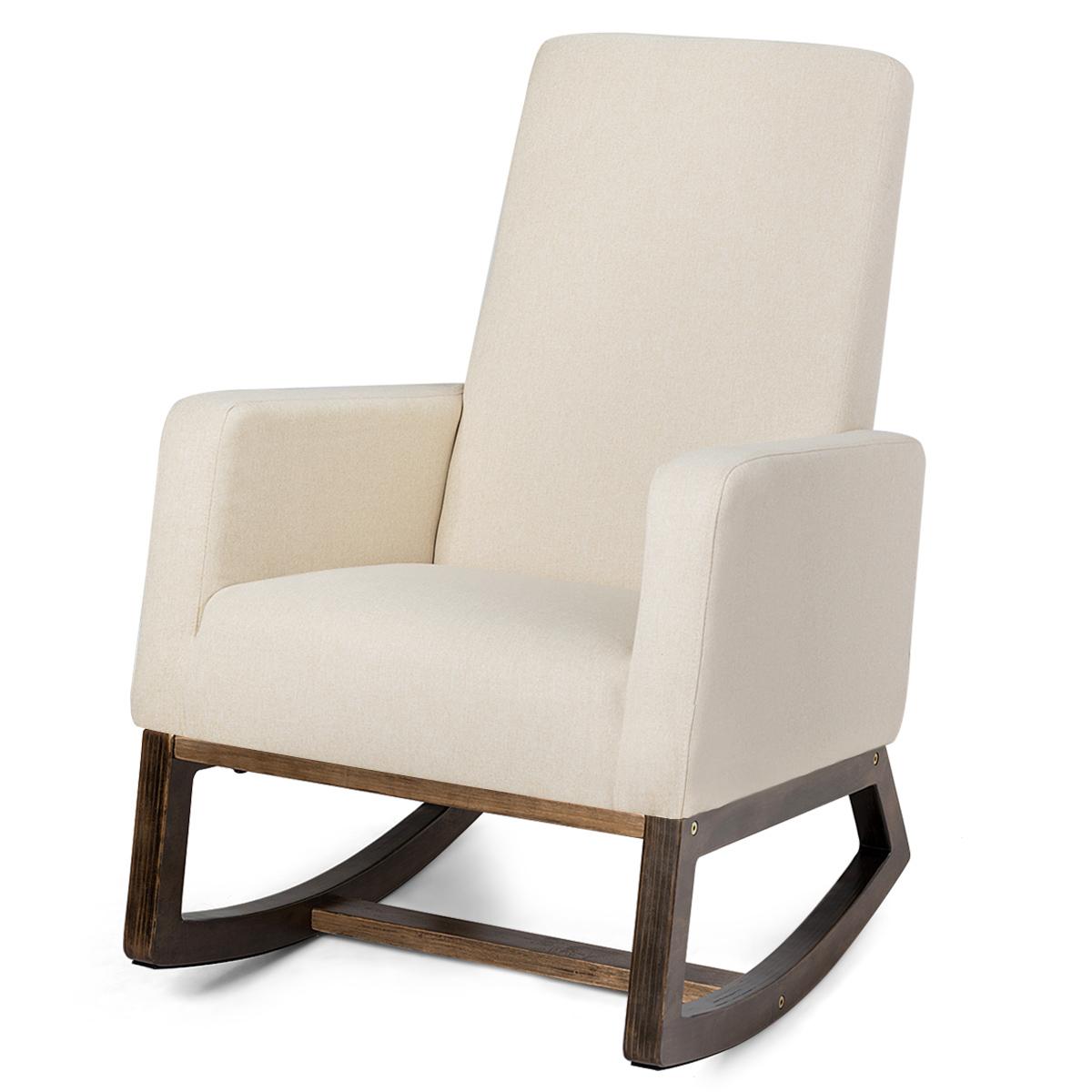 Details About Mid Century Rocking Chair Comfortable Rocker Modern High Back Armchair Beige