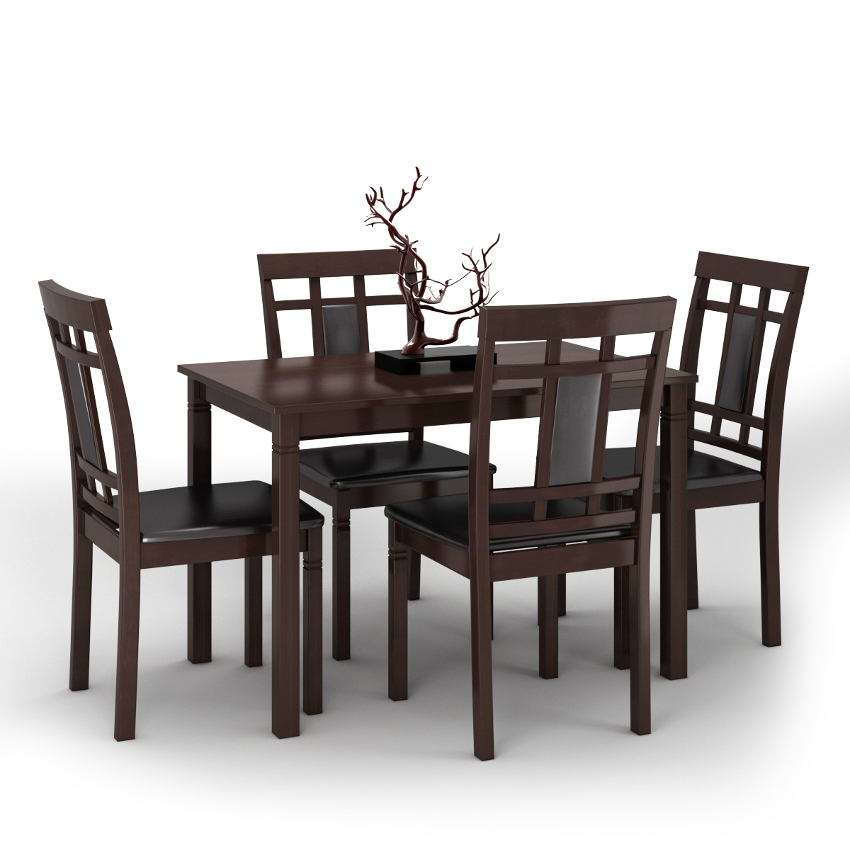 5PCS Home Kitchen Dining Room Table Set Simple Style w/4 Padded Chairs Brown
