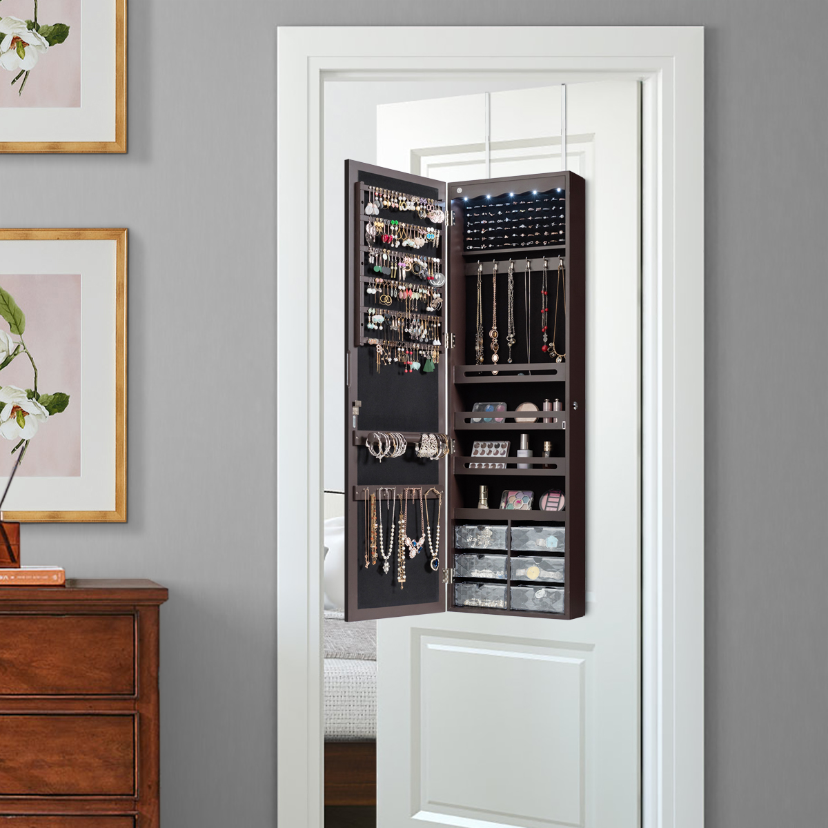 Wall Door Mounted LED Mirror Jewelry Cabinet Armoire ...