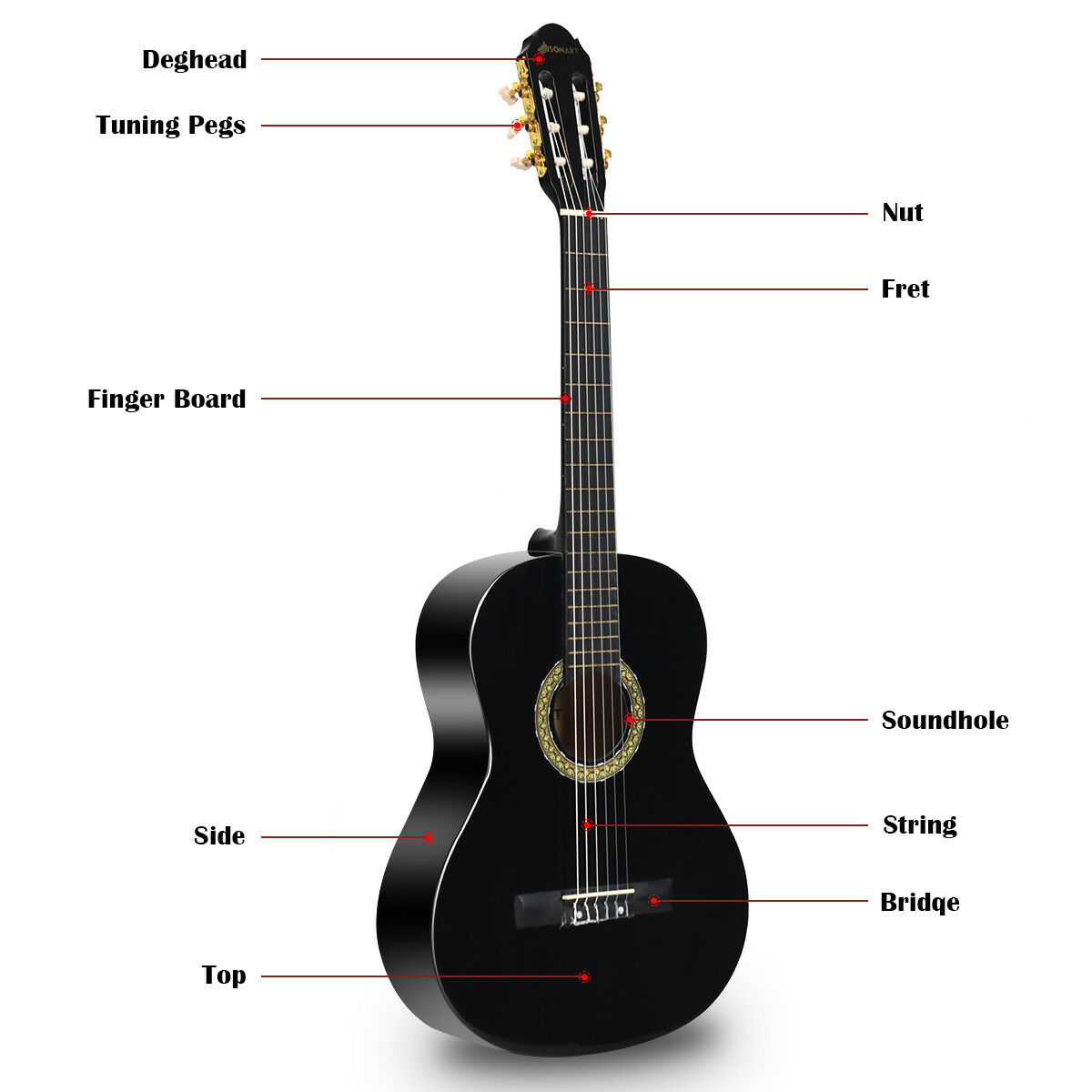 sonart 39 full size classical guitar 6 string w bag pick strings cleaning cloth ebay. Black Bedroom Furniture Sets. Home Design Ideas