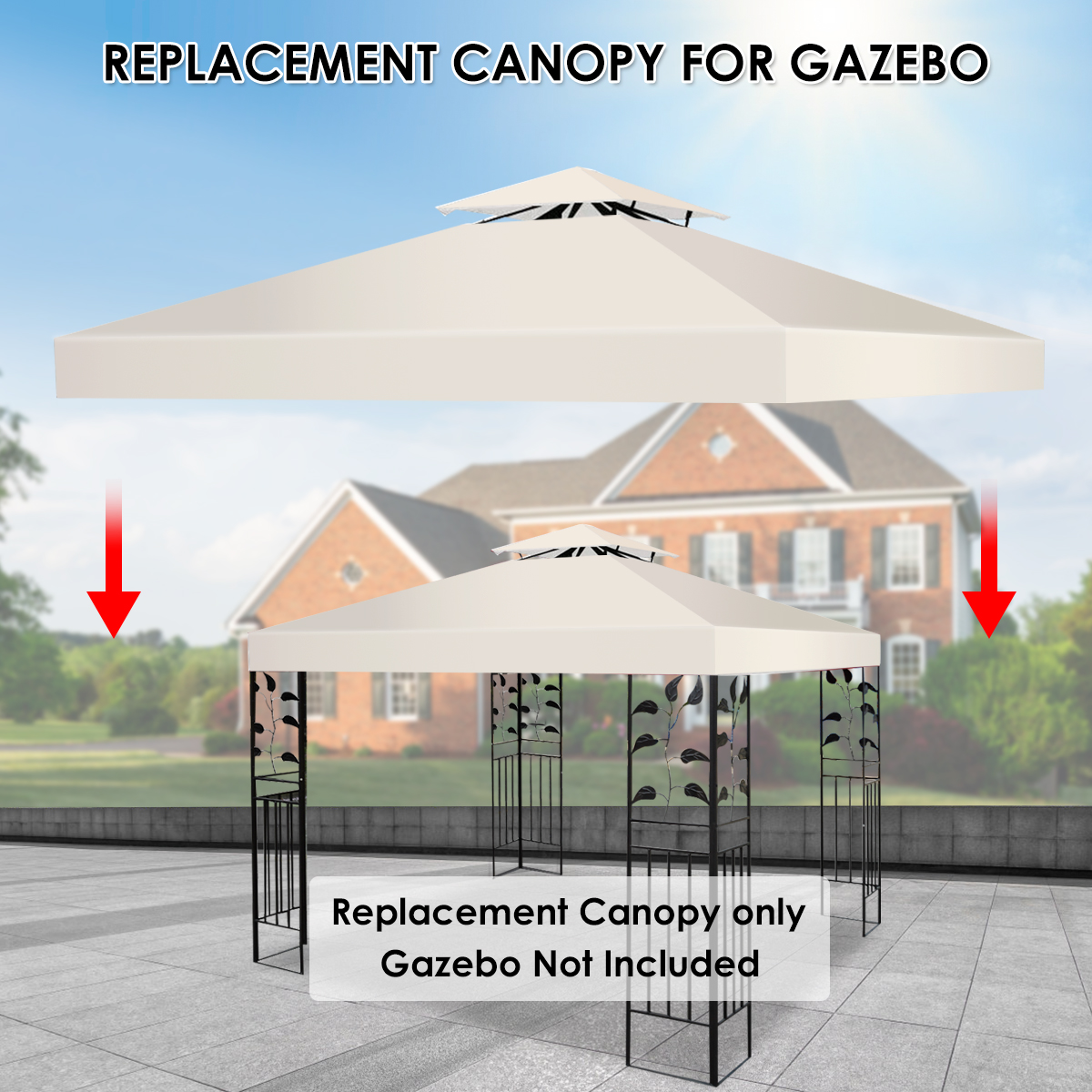 10-039-X-10-039-Gazebo-Top-Cover-Patio-Canopy-Replacement-1-Tier-or-2-Tier-3-Color thumbnail 37